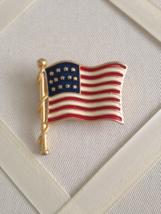 Vintage Red White And Blue Enamel American Flag Fashion Brooch - $25.00