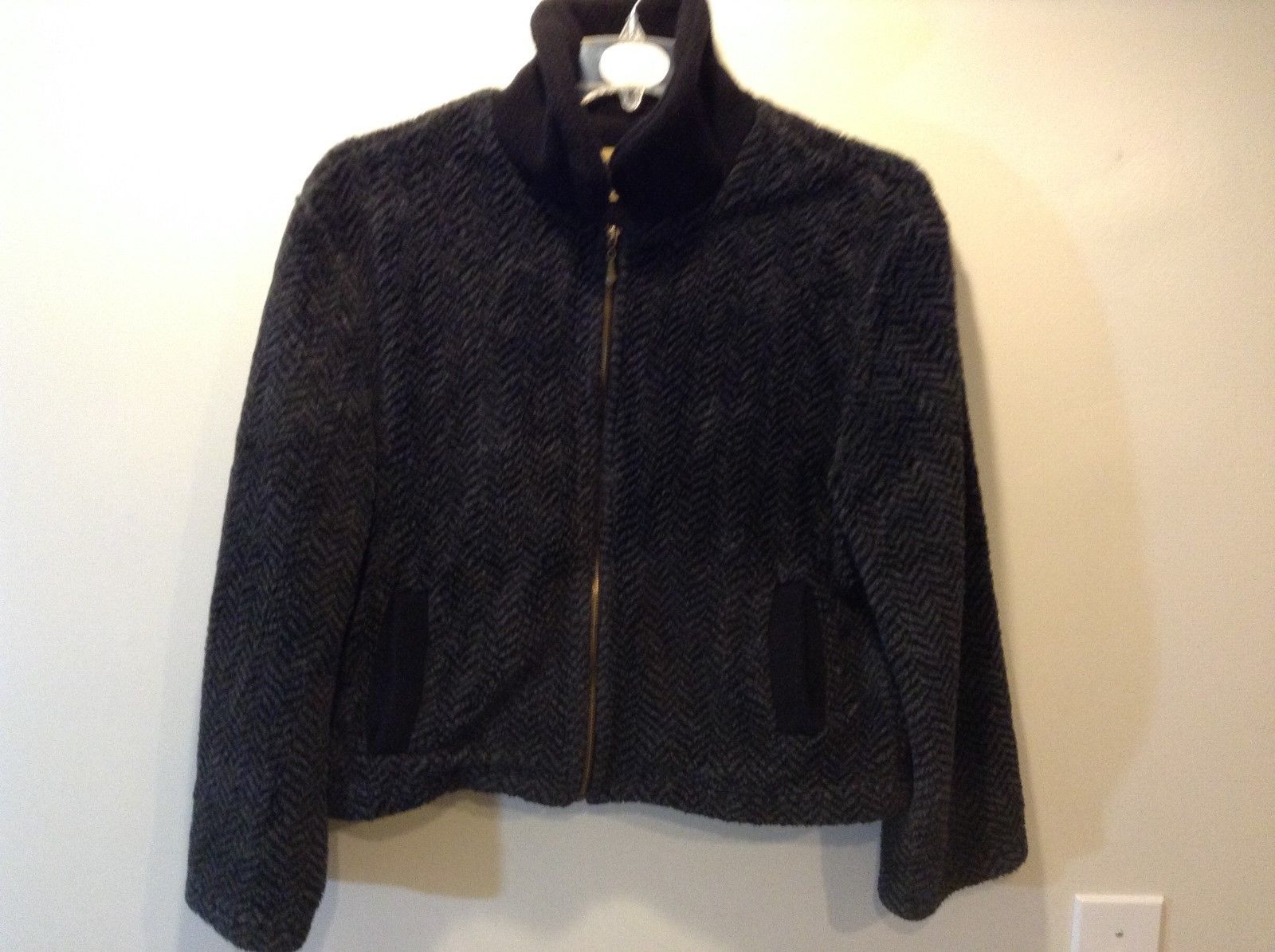 Ladies Warm Collared Zip Up Black and Grey Jacket by TIACE