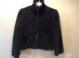 Ladies Warm Collared Zip Up Black and Grey Jacket by TIACE - $64.35