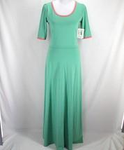Lularoe Ana Maxi Dress Womens M Green Solid Pink Trim Short Sleeve Full ... - $34.99