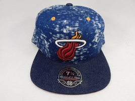 Miami Heat Mitchell & Ness Size 7 1/2 Crown Fitted NBA Cap Hat Blue Jeans Denim
