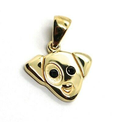 18K YELLOW GOLD MINI PENDANT, JACK RUSSELL DOG, BLACK ZIRCONIA MADE IN ITALY