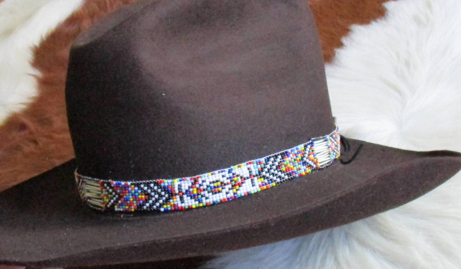 American Made! Rainbow Hatband With Porcupine Quills & Glass Beads for Western L