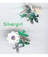 AB Rhinestone Dangle On White Flower Stud Earrings - $4.99