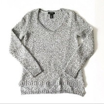 WHBM XS Marled Metallic Grey V Neck Sweater - $24.19