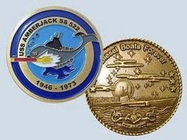 NAVY USS AMBERJACK SS-522  DIESELBOATS FOREVER 1946-1973 CHALLENGE COIN - $28.49
