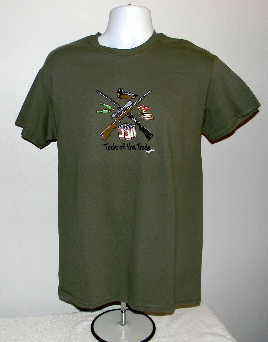 MEN'S TOOLS OF THE TRADE T SHIRT MEDIUM GREEN HUNTING GUNS BEER DUCK CALLS