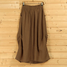 Women Linen Cotton Boho Skirts Casual Linen Skirt, Army Green Black,  One Size image 4