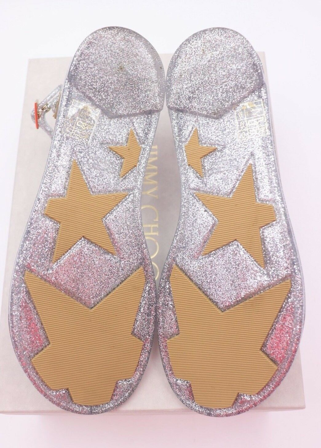 NIB Jimmy Choo Lance Silver Metallic Glitter Rubber Jelly Sandals 7 37 New image 7