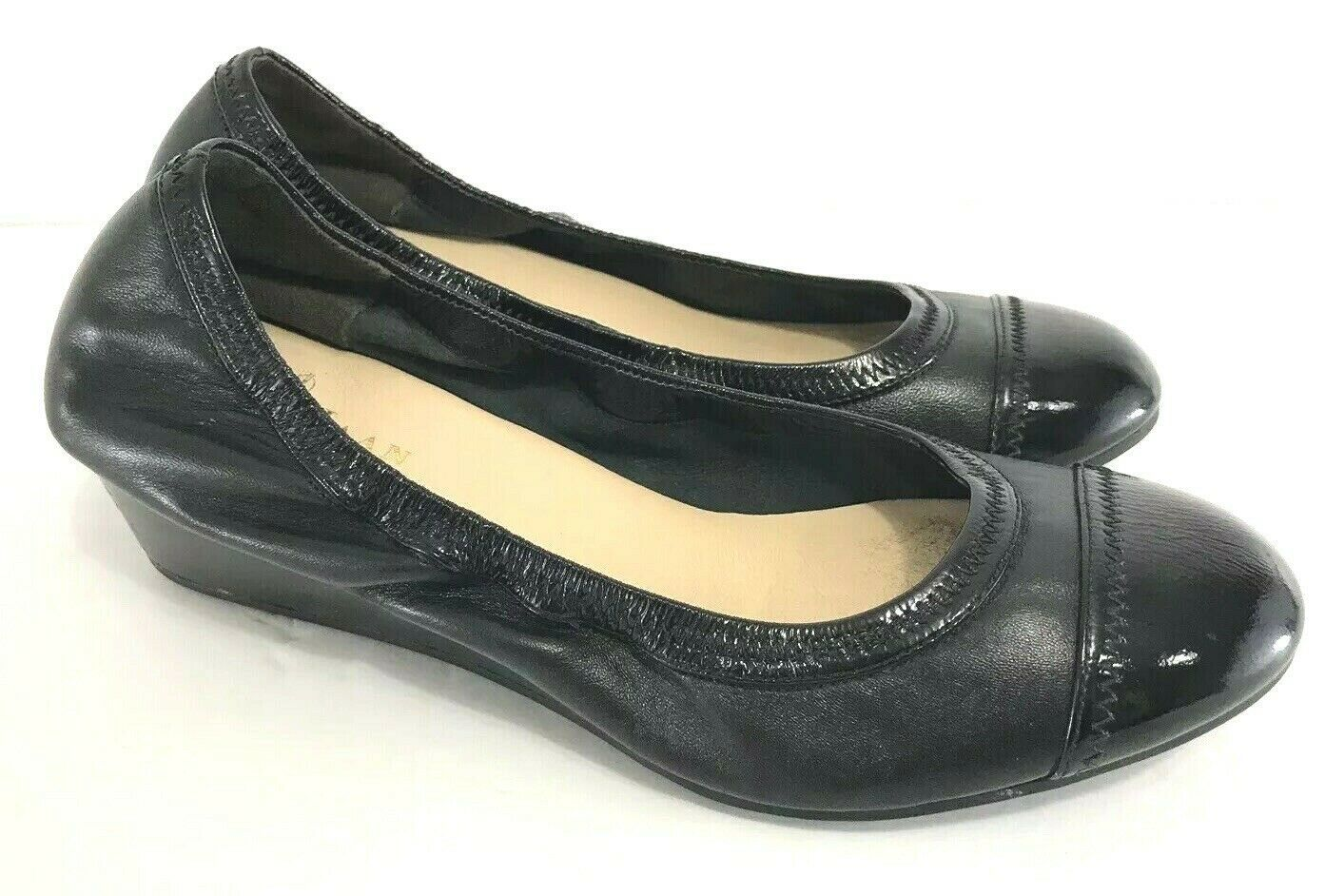 Cole Haan Air Black Leather Cap Round Toe Ballet Flat Wedge Heel sz 7 Shoe - $64.35
