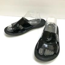 Born Shoes Black Patent Leather Slides Slip On Flat Sandals Womens 10 EU... - $20.95