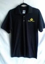 "Gildan Knit Polo Golf Shirt Men's Medium Black Cross Walk Emblem  Chest 38"" - $7.37"