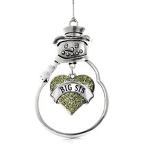 Inspired Silver Big Sis Green Pave Heart Snowman Holiday Decoration Christmas Tr - $14.69