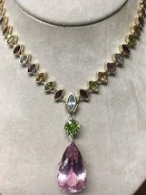 New Vtg Custom VVS-IF 60 ct Kunzite peridot, gemstones diamond 14k gold ... - $9,999.99