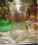 "Hoosier Glass Vase CLEAR Swirl Design;#4090;Large 8½"" tall x 4.25"";4062-... - $9.99"