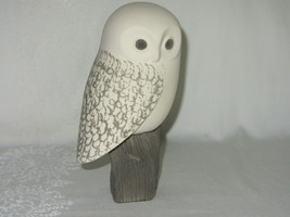 Snowy Owl White Bisque Porcelain Vintage Figurine Mid Century Modern Signed - $39.59