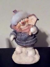 "Sparkling Snowman Figurine Birdhouse Melamine Carrot Nose Fur On Hat 4"" ... - $4.95"