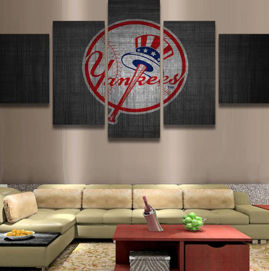 New York Yankees Home Decor: Framed 5Pcs New York Yankee Logo Baseball Canvas Art Wall