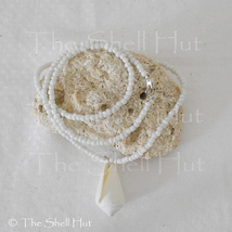 Seashell Necklace Beach Wedding Shell Jewelry Cone Shell Glass Beads Mer... - $8.99