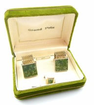 SET of Vintage 1960s SWANK Goldtone & Jade CUFFLINKS & TIE TAC in Origin... - $75.00