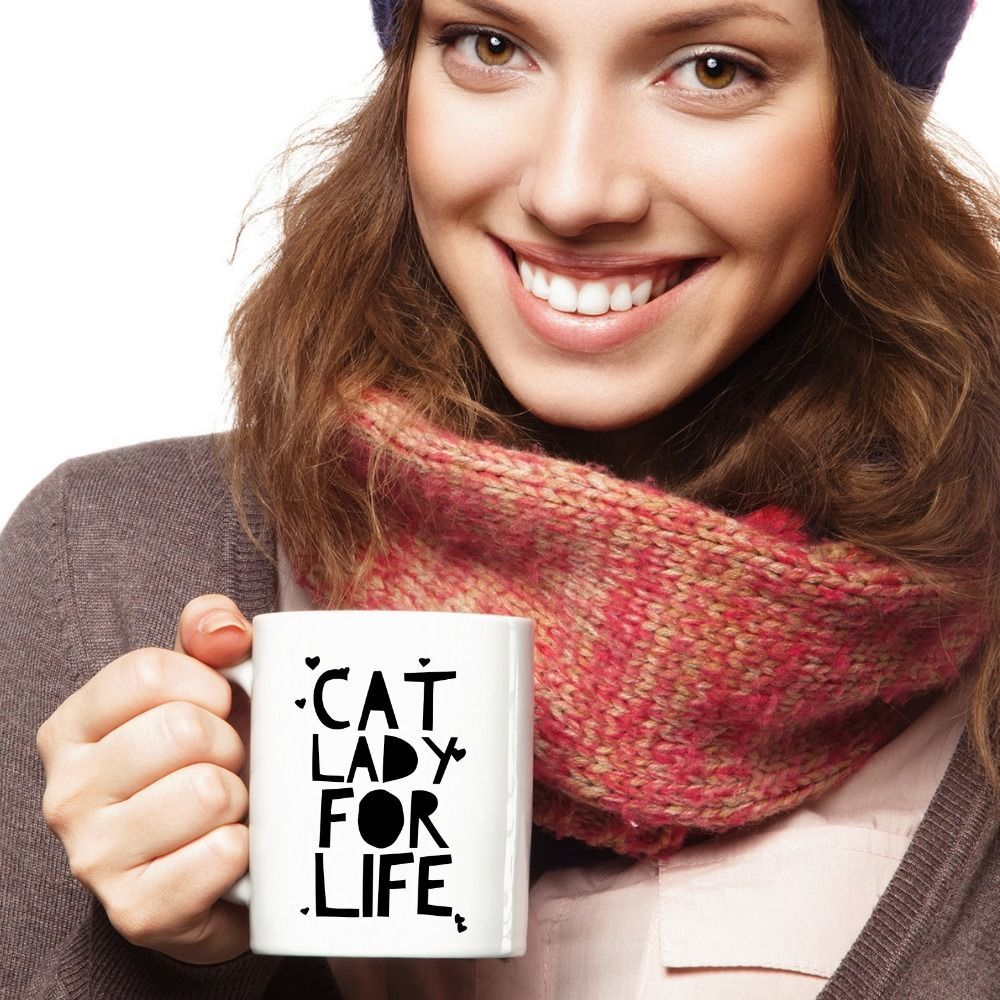 Cat Lady For Life Mug Crazy Cat Lady Gift Mom Girlfriend Hearts Coffee Cup White