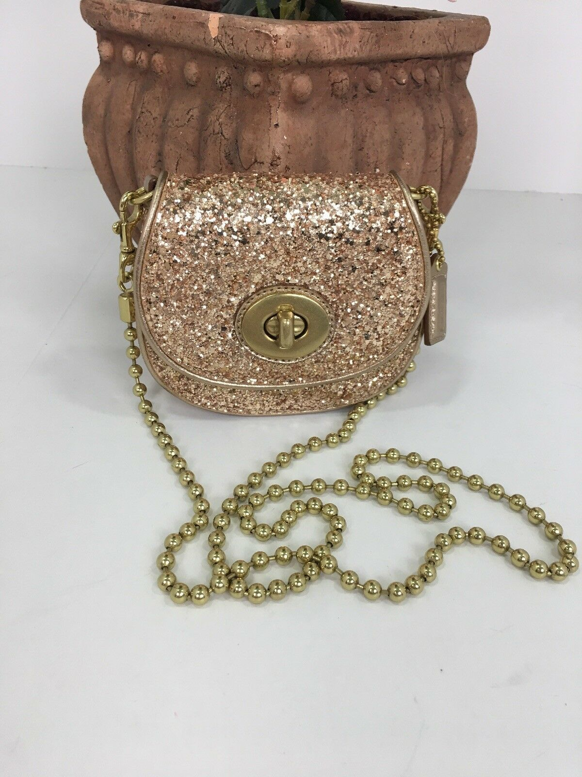 Coach Bag Evening Poppy Gold Sequin Crossbody Leather Chain 43292 Gold B2E image 2