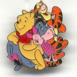 Disney Tigger Piglet Eeyore Pooh Hugging Pin/Pins