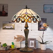 Tiffany Style Victorian Floral Stained Glass Table and Desk Light Art De... - $119.99