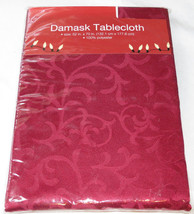 Damask Tablecloth 52 inches X 70 inches rectangle red Holiday Table Clot... - $34.64