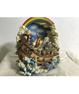 Noah's Ark Many Animals  Hand-Painted Heavy Resin  Musical And Moves - $20.15