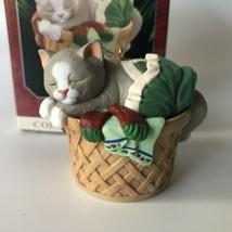1998 Hallmark Christmas Ornament Cat Naps 5 Asleep in Basket - $11.00