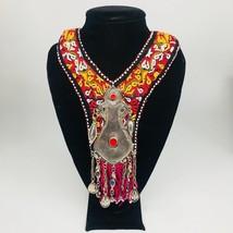 Vintage Turkmen Choker Necklace Pendant on Hand Sawn Soft Fabric Handmade,TN203 - $24.00