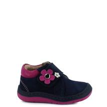 Girl's Rilo navy blue leather baby walker crib shoe - $28.78+