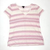 Ann Taylor Casual Shirt Women Small V Neck Short Sleeve Pink Stripe Top - $15.00