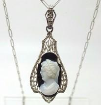 Art Deco 14k Gold Genuine Natural Cameo Pendant with Paperclip Chain (#3... - $285.00