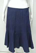 NWT LARRY LEVINE Dark Navy Blue Trumpet Flared Denim Jean Skirt Size 8 - $27.99