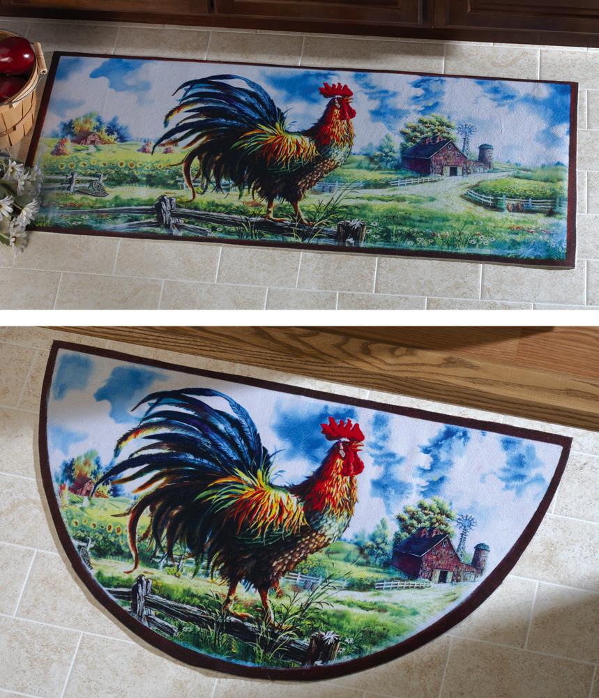 Rooster Kitchen Rug: Farmyard Rooster Kitchen Runner Rug