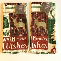 "Red Farm Truck Dish Towels 100% Cotton 16x26"" set of 2 Christmas Deer Cabin - $23.66"