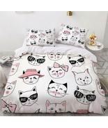 3D Summer Cute Cat Sunglasses KEP5790 Bed Pillowcases Quilt Duvet Cover Kay - $66.96+