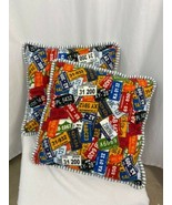 """State License Plate Cotton Throw Pillows, Square 18"""", Multicolor, Set of 2 - $23.74"""