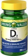 Spring Valley Vitamin D3 Softgels, 400IU, 200 Ct - $5.36
