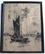 Antique Pen & Ink Drawing Beached Sailboat Harbor Sail Boat Ship By D.G.... - $40.00