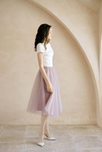 2020 Rose Pink Midi Tulle Skirt Outfit A-line Ballerina Skirt Plus Size WT12 image 1