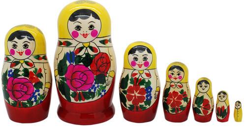 """7 Authentic Russian Semenov Nesting dolls Matryoshka, babushka, 6"""""""