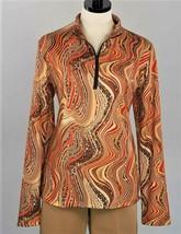 Stylish Golf/Casual Brown Vivid Animal Print Long Sleeve Mock Polo - Gol... - $29.95