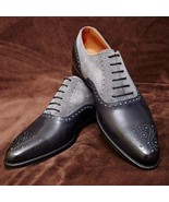 Oxford Two Tone Handmade Rounded Brogues Toe Genuine Leather Lace Up Men Shoes - $99.99 - $159.99