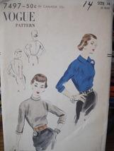 "Vintage Vogue Pattern 32"" Bust Blouse 7497 Unprinted pattern 1955 - $7.99"