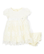 NWT Nannette Baby Girls Short Sleeve Yellow Lace Flare Dress & Diaper Co... - $12.99