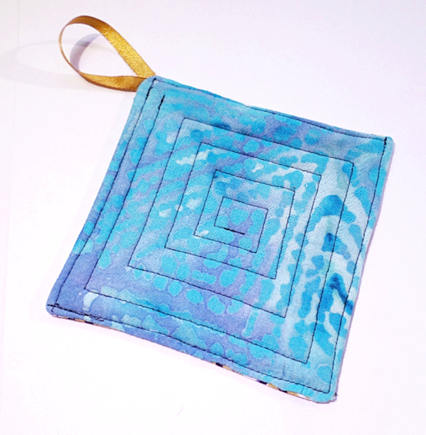 Handmade Reversible Quilted Drink Coasters, Mini Cloth Hot Pot Pads