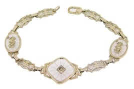 14k Gold Filigree Art Deco Genuine Rock Crystal Bracelet with Diamonds (... - $850.25